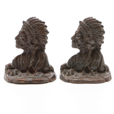 Figural Cast Metal Bookends, Vintage
