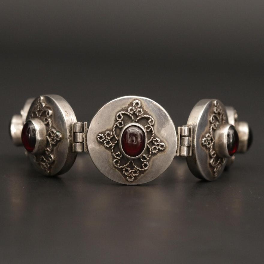 Vintage Sterling Silver Rhodolite Garnet Bracelet