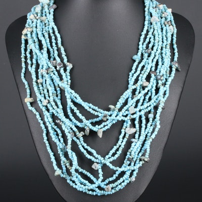 Endless Turquoise Multi-Strand Beaded Necklace