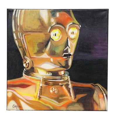 Chris Cargill Acrylic Painting of C-3PO