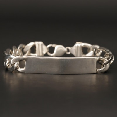 Sterling Silver ID Bracelet With Figaro Style Chain