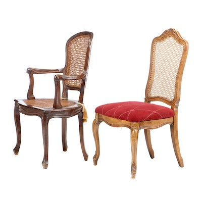 French Provincial Style Walnut Finish Upholstered Chairs, Early 20th Cnetury