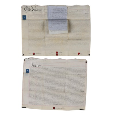 British Indenture Documents on Vellum With Tax Revenue and Royal Stamps, 1860s