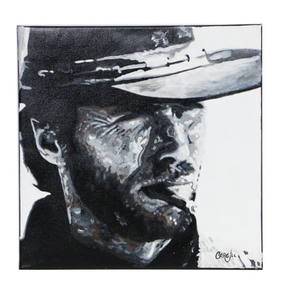 Chris Cargill Portrait Acrylic Painting of Clint Eastwood