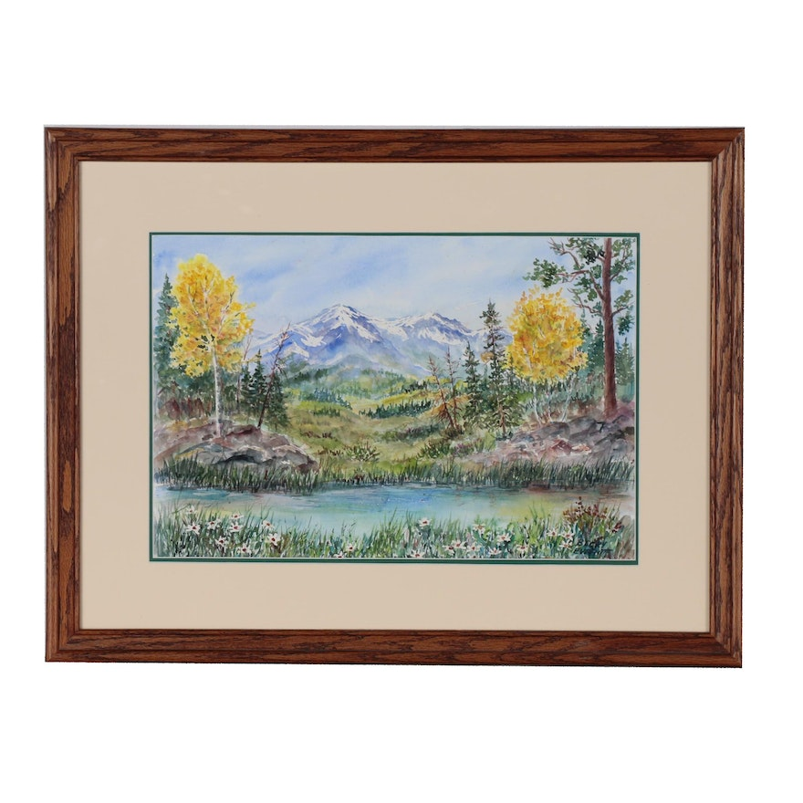 Becky Everitt Watercolor Painting of Mountain Scene