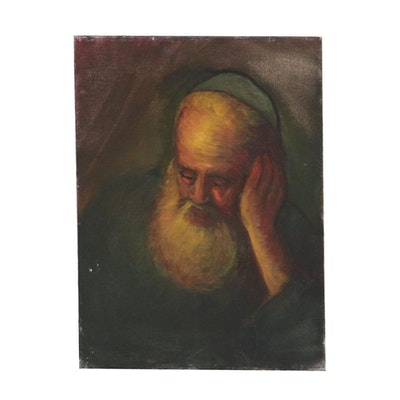 Portrait of Rabbi Oil Painting, Mid to Late 20th Century