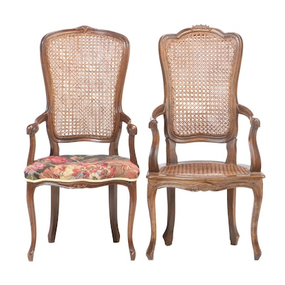 French Provincial Style Walnut Finish Upholstered Chairs, Early 20th Century