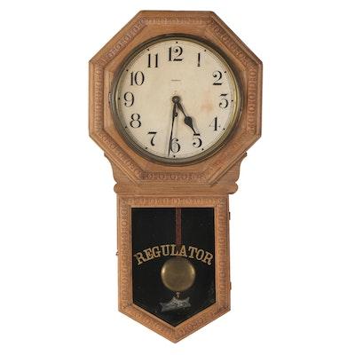 Waterbury Clock Co. Oak Regulator Wall Clock, Early 20th Century