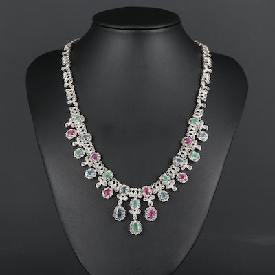 Sterling Silver Ruby, Sapphire, Emerald and Marcasite Necklace