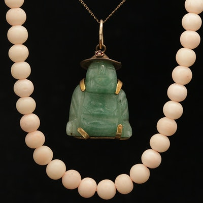 Aventurine and Glass Pendant Necklace With Beaded Coral Necklace