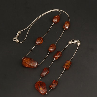 Sterling Silver Amber Station Necklace and Bracelet Set