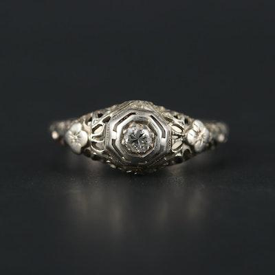 Edwardian 18K White Gold Diamond Openwork Solitaire Ring