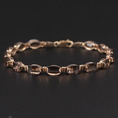 10K Yellow Gold Smoky Quartz Link Bracelet