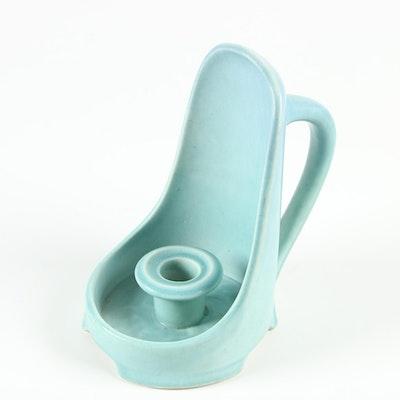 Rookwood Pottery Matte Blue Glaze Earthenware Chamberstick, 1924