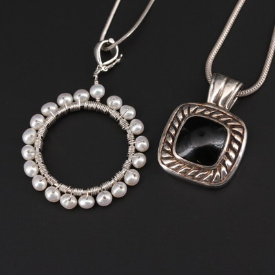 Sterling Silver Pearl and Glass Pendant Necklaces
