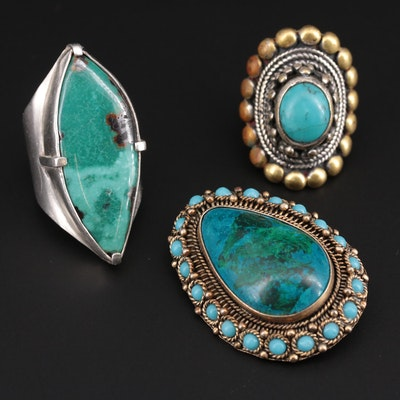 Turquoise and Chrysocolla Rings and Converter Brooch Including Sterling