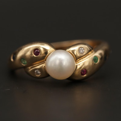 14K Yellow Gold Pearl, Diamond, Ruby, Emerald and Sapphire Ring