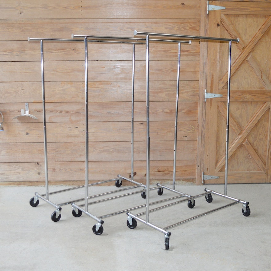 Chrome Tone Rolling Clothing Racks, Set of Three