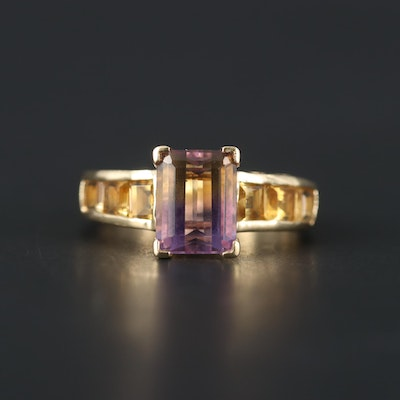 10K Yellow Gold Ametrine and Citrine Ring
