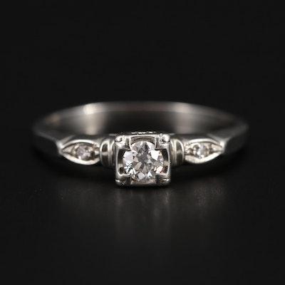 1940s 18K White Gold Diamond Ring