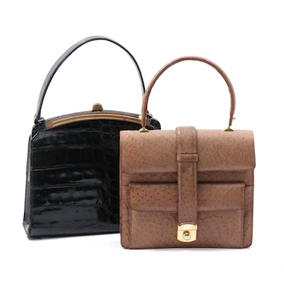 Crocodile and Ostrich Skin Leather Handbags, Vintage