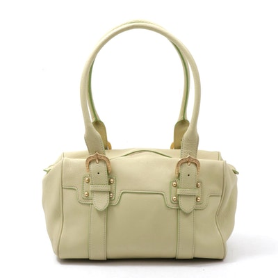 Dooney & Bourke Light Green Pebbled Leather Satchel with Buckled Handles