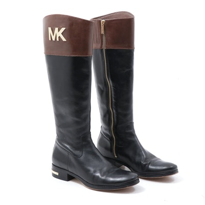 Michael Kors Two-Tone Leather Riding Boots