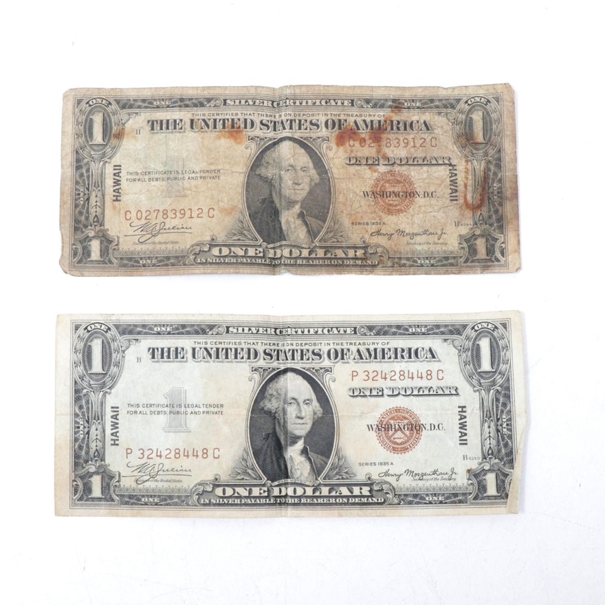 "Series 1935-A $1 Brown Seal ""Hawaii"" $1 Silver Certificates"