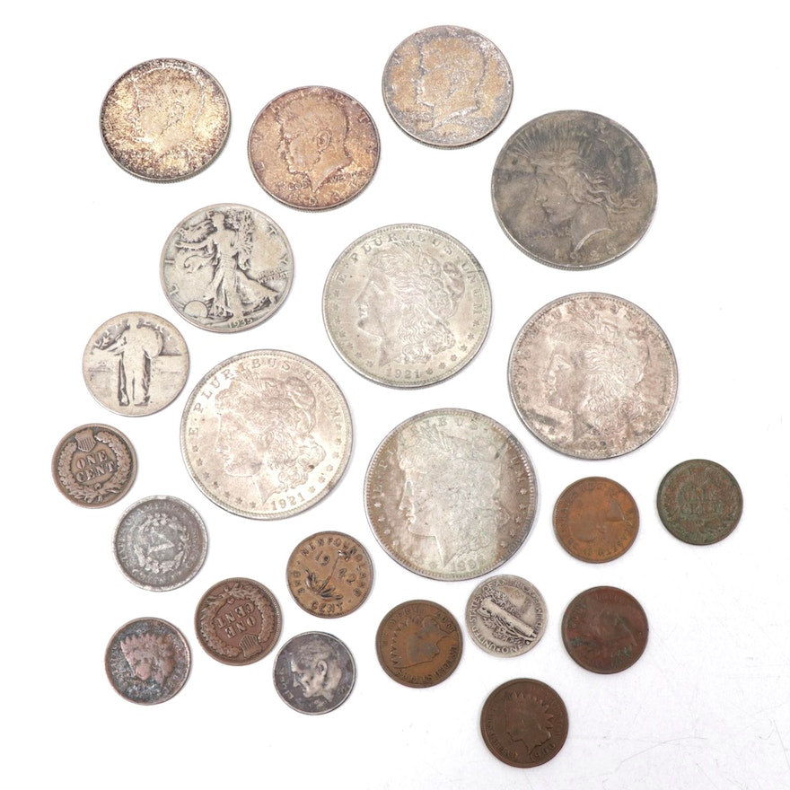 U.S. Vintage Coins Including Morgan Silver Dollars, Indian Head Cents and More