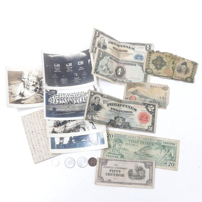 World War II Era Coins, Currency, and U.S. Naval Photographs