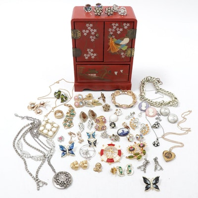 Painted Jewelry Box and Vintage Jewelry Assortment Including Whiting and Davis