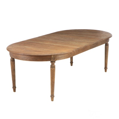 Rustic Style Oak Grained Dining Table with Insert Leaf, Contemporary
