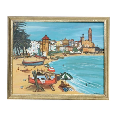 Janet Lee Acrylic Painting Depicting Coast of Collioure, France