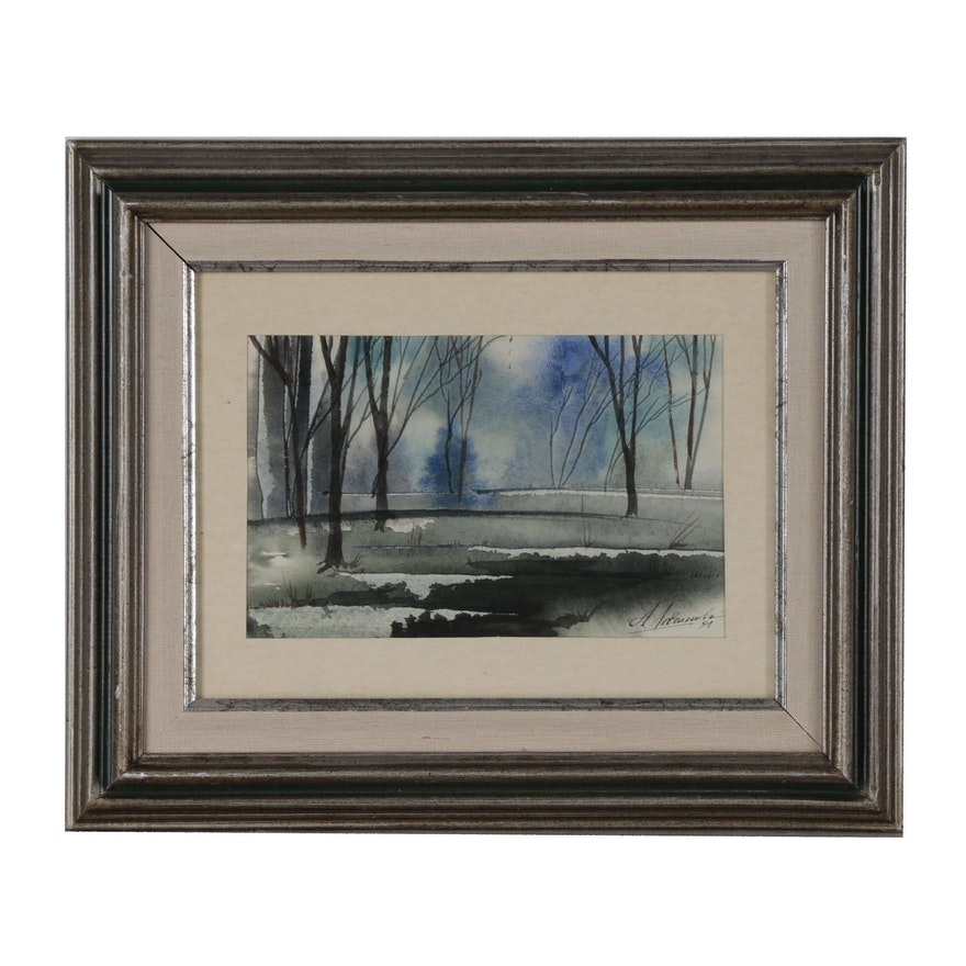 Landscape Watercolor Painting of Forest Scene, Late 20th Century