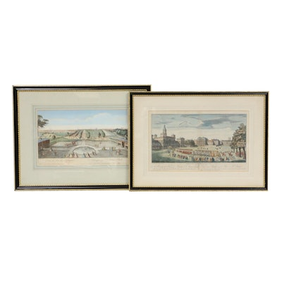 English Hand-Colored Engravings, 19th Century
