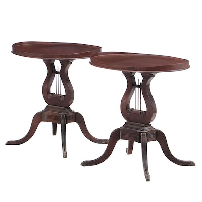 Duncan Phyfe Style Mahogany Lyre Pedestal Side Tables, Mid-20th Century