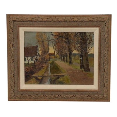 Landscape Oil Painting of Country Lane