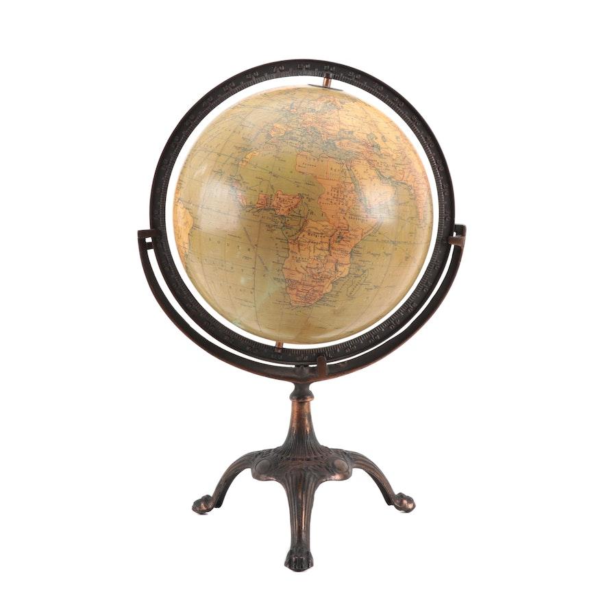 "C. S. Hammond & Co. 12"" Terrestrial Globe on Bronze Finish Stand, 1919-1923"