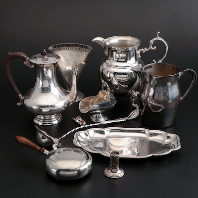 Birmingham Silver Plate Water Pitcher with Silver Plate Table Accessories