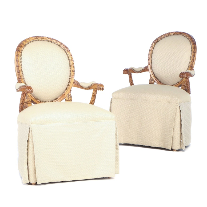 Upholstered Skirted Arm Chairs, Late 20th Century