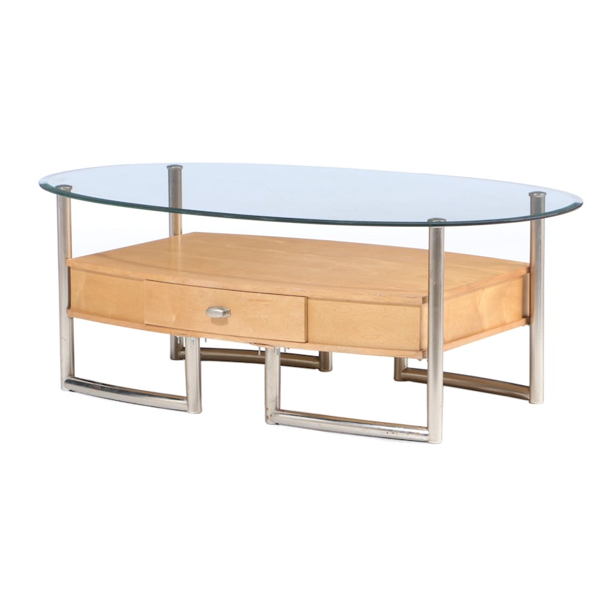 Oval Birch, Metal and Glass Coffee Table, Late 20th Century