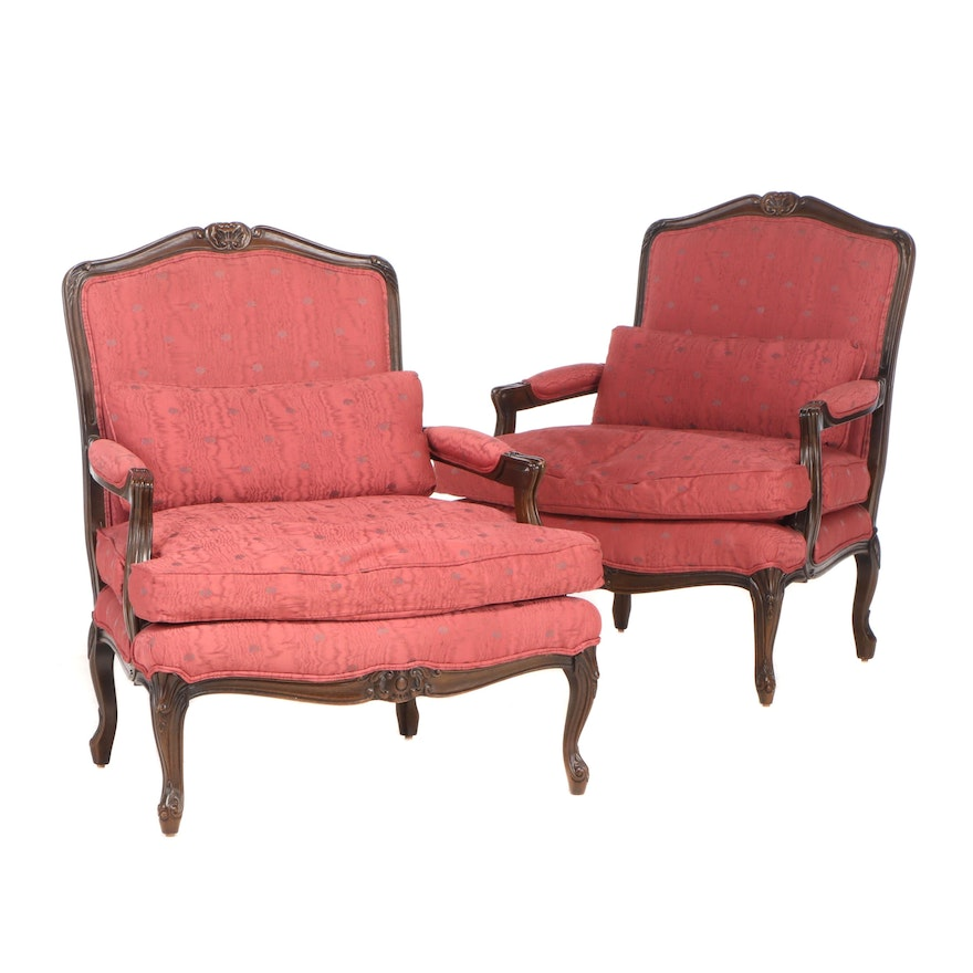 Louis XV Style Walnut Upholstered Arm Chairs, Late 20th Century