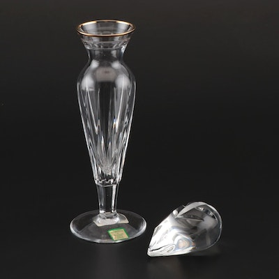 """Marquis by Waterford """"Hanover Gold"""" Bud Vase with Spode Crystal Paperweight"""