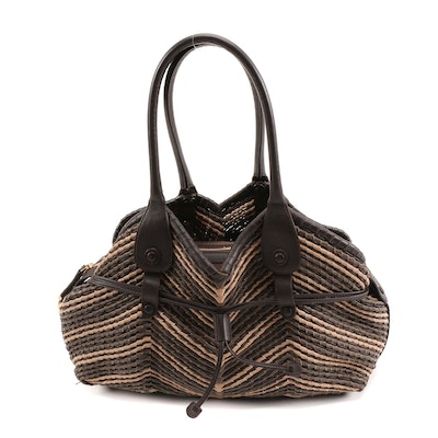 Salvatore Ferragamo Brown and Tan Woven Leather Tote Bag