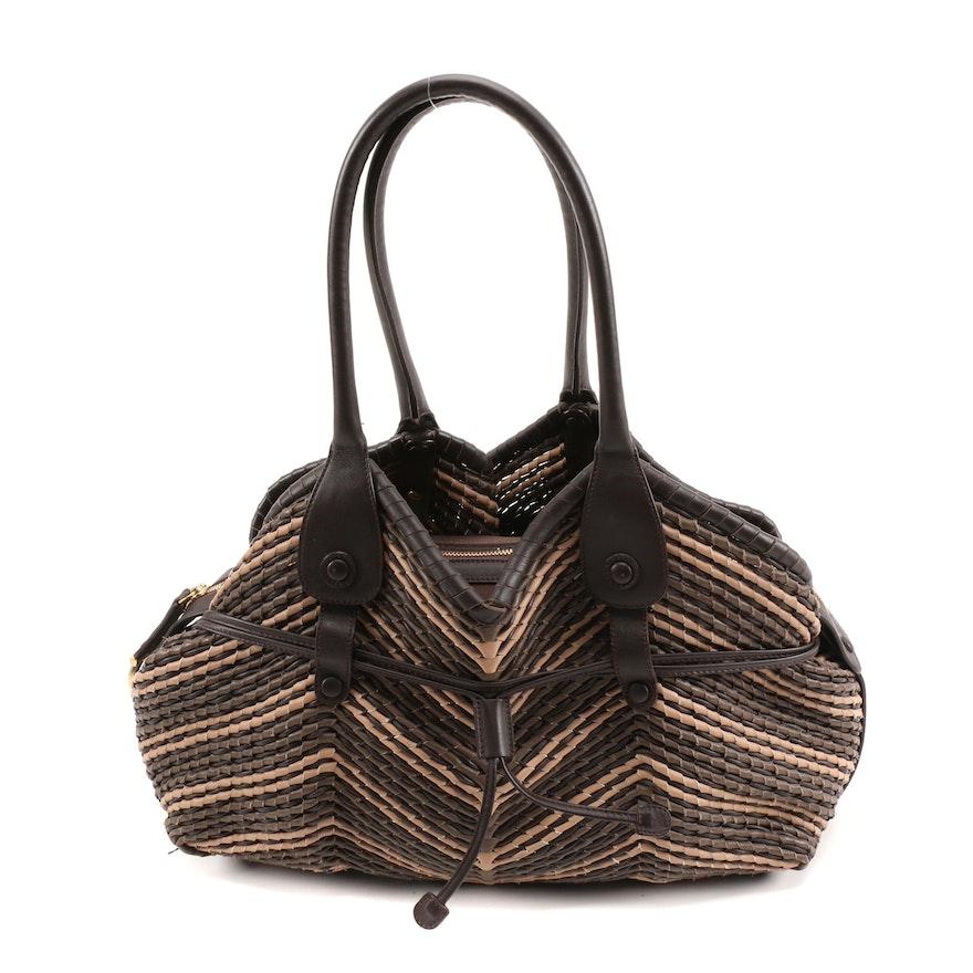 Salvatore Ferragamo Brown and Tan Woven Leather Tote Bag