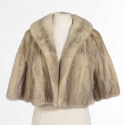 Grey Mink Fur Cropped Capelet, Mid-20th Century
