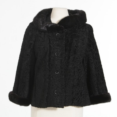Black Persian Lamb Cropped Jacket with Mink Fur Collar and Cuffs, Vintage
