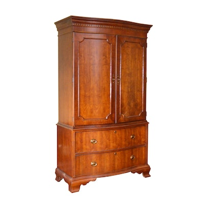 Bowfront Cherry Armoire Entertainment Center, Contemporary
