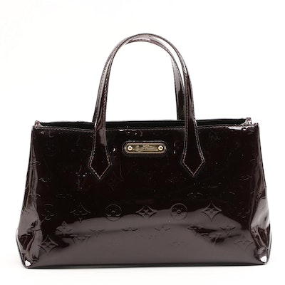 Louis Vuitton Wilshire PM Baguette in Amarante Vernis Leather