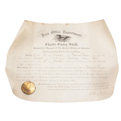 Postmaster Commission for Pickaway County Ohio, Signed by Charles E. Smith, 1898